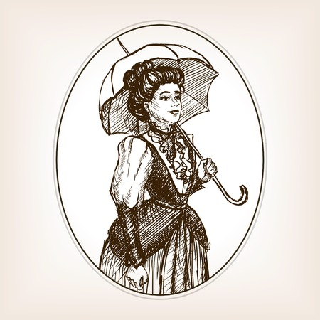 scratchboard: Vintage lady sketch style illustration. Old engraving imitation.