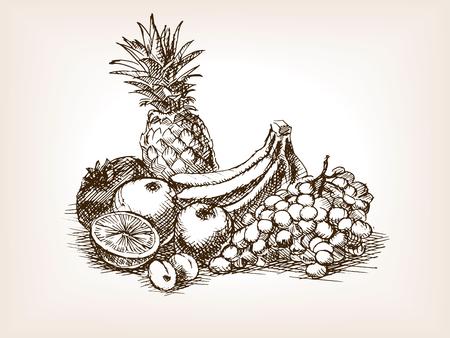 still: Fruits still life sketch style illustration. Old engraving imitation.