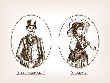 lady vintage e gentiluomo illustrazione stile schizzo. Vecchia incisione imitazione. Vettoriali