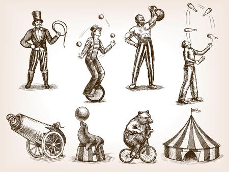 espectáculo de circo retro conjunto Ilustración del estilo del bosquejo. hengraving imitación de edad. humanos y animales dibujos de época Ilustración de vector