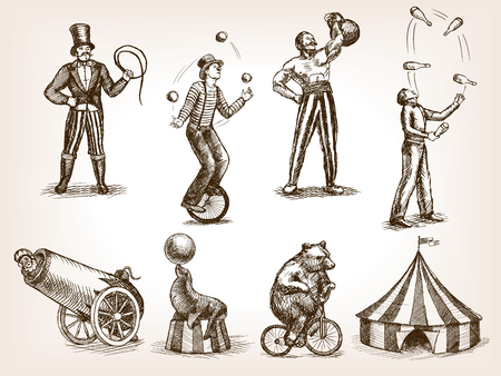 juggle: Retro circus performance set sketch style illustration. Old hengraving imitation. Human and animals vintage drawings