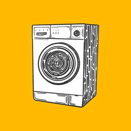 scratch board: Washing machine engraving style illustration. Scratch board style imitation Illustration