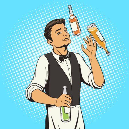 juggle: bartender juggling bottles pop art style illustration. Comic book style imitation Illustration