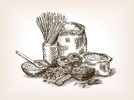 food still: Pasta still life sketch style illustration. Old  engraving imitation. Illustration