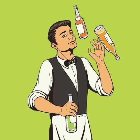 juggle: bartender juggling bottles pop art style vector illustration. Comic book style imitation