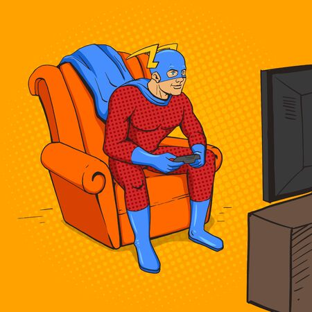 Superhero playing the game console. Cartoon pop art vector illustration. Human comic book vintage retro style.