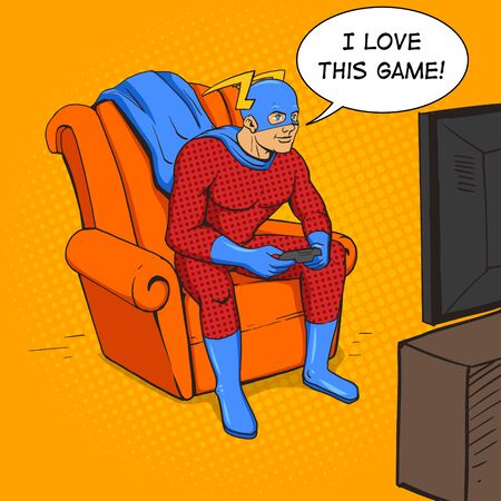 retro computer: Superhero playing the game console. Cartoon pop art vector illustration. Human comic book vintage retro style.