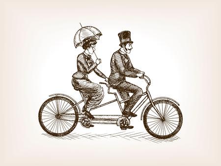 ヴィンテージ女性および紳士タンデム自転車スケッチ スタイルのベクトル図に乗る。古い彫刻の模倣。