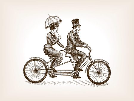 Vintage lady and gentleman ride tandem bicycle sketch style vector illustration. Old engraving imitation.