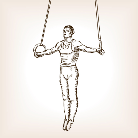 scratchboard: Gymnast on rings sketch style vector illustration. Old engraving imitation.