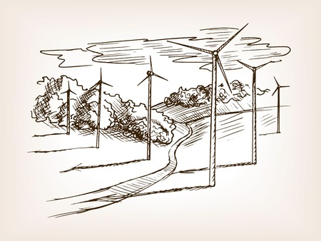 wind power plant: Wind power plant sketch style vector illustration. Old hand drawn engraving imitation.