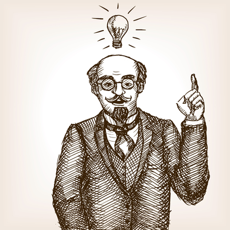 scratchboard: Vintage scientist gentleman with idea lamp sketch style vector illustration. Old engraving imitation.