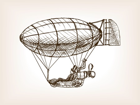 scratchboard: Steampunk mechanical flying airship sketch style vector illustration. Old engraving imitation.