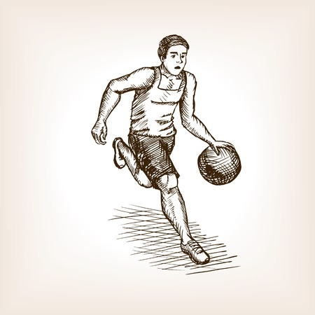 scratchboard: Basketball player sketch style vector illustration. Old engraving imitation.
