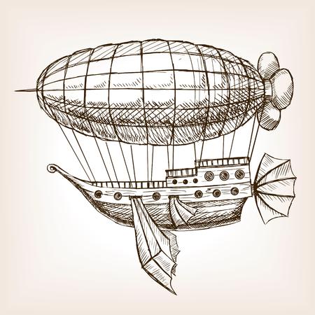 Steampunk mechanischer fliegenden Luftschiff Skizze Stil Vektor-Illustration. Alte Gravur Nachahmung. Vektorgrafik