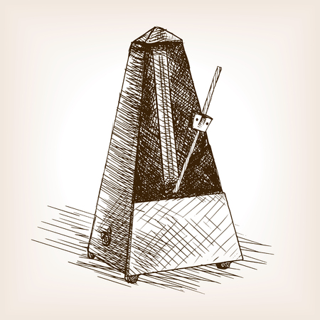 tact: Metronome sketch style vector illustration. Old hand drawn engraving imitation. Illustration