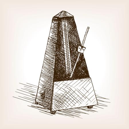 Metronome sketch style vector illustration. Old hand drawn engraving imitation. Illustration
