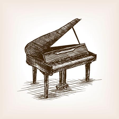 Piano à queue croquis style vecteur illustration. Ancienne gravure imitation.