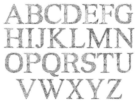大人ベクトル イラストの塗り絵花アルファベット。
