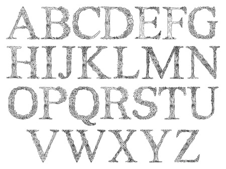 floral alphabet: Floral alphabet letter coloring book for adults vector illustration.