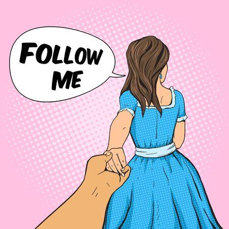 man holding book: Man follows the girl and holding her hand. Cartoon pop art vector illustration. Human comic book vintage retro style. Illustration