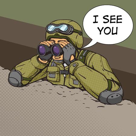 Soldat regarde à travers des jumelles des tranchées. Cartoon pop art vecteur illustration. Human bande dessinée rétro style vintage.