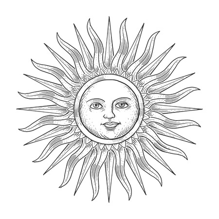 monochromic: Sun with face engraving vector illustration. Scratch board style imitation. Hand drawn image.