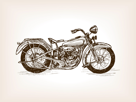 rough draft: Retro motorcycle vehicle sketch style vector illustration. Old engraving imitation. Illustration