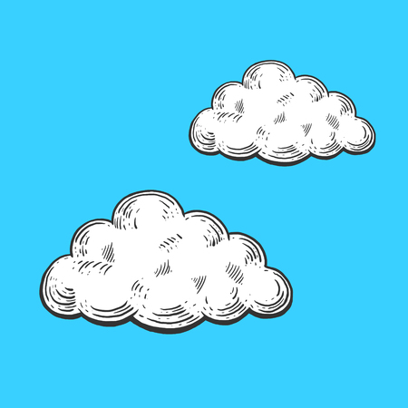 monochromic: Cartoon clouds engraving vector illustration. Scratch board style imitation. Hand drawn image.