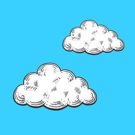 nubes caricatura: nubes de dibujos animados ilustración de grabado del vector. Scratch imitación estilo del tablero. Dibujado a mano la imagen.