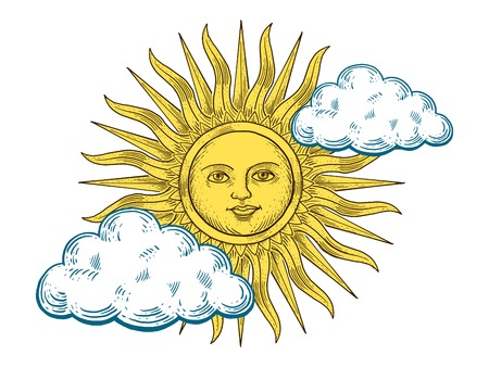 monochromic: Sun with face and clouds engraving vector illustration. Scratch board style imitation. Hand drawn image. Illustration