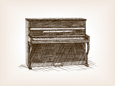 rough draft: Piano sketch style vector illustration. Old engraving imitation.