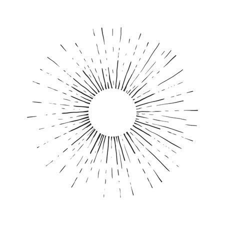 태양 조각 벡터 일러스트 레이 션. 스크래치 보드 스타일 모방. 손으로 그린 된 이미지입니다.
