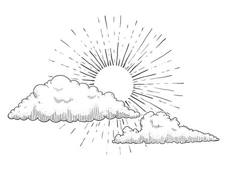 雲と雲のベクトル図を彫刻と太陽。スクラッチ ボード スタイルの模倣。手描きイメージ。