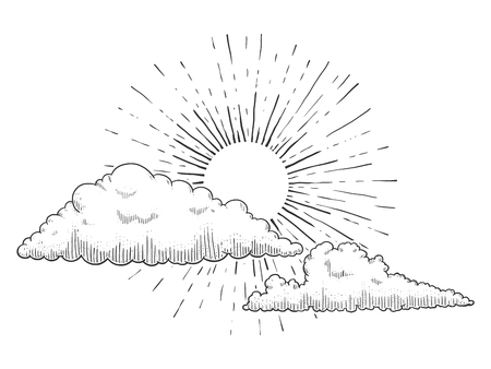 구름과 구름 조각 벡터 일러스트와 함께 태양입니다. 스크래치 보드 스타일의 모방. 손 이미지를 그려.