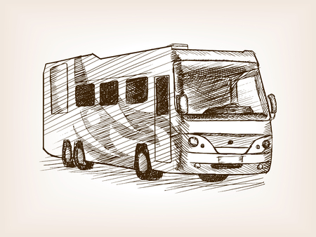 scratchboard: Mobile home bus transport sketch style vector illustration. Old engraving imitation.