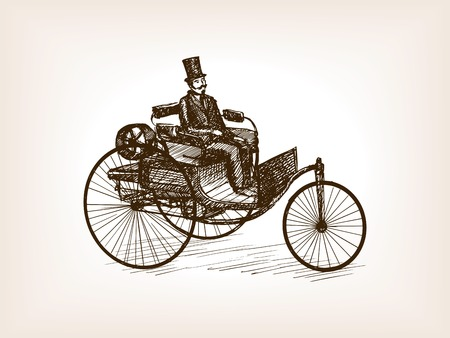scratchboard: Vintage gentleman drive retro car sketch style vector illustration. Old engraving imitation.