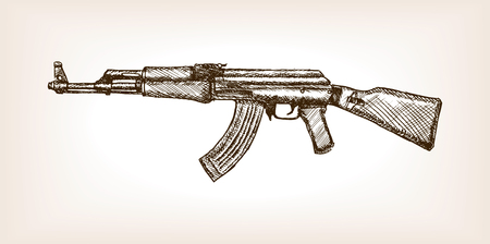 Automatic rifle sketch style vector illustration. Muchine gun. Old hand drawn engraving imitation. Illustration