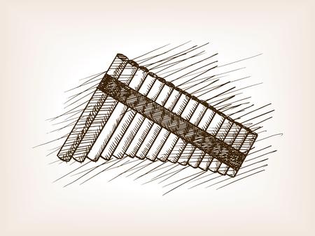 panpipe: Pan flute sketch style vector illustration. Old engraving imitation. Illustration