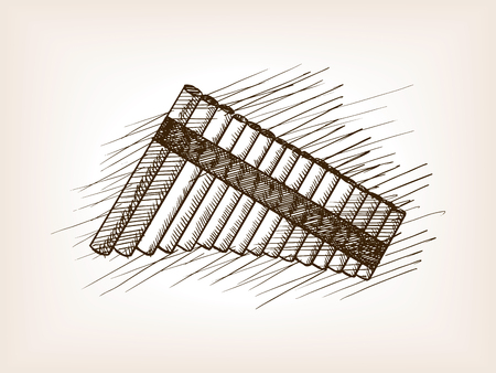 Pan flute sketch style vector illustration. Old engraving imitation. Illustration