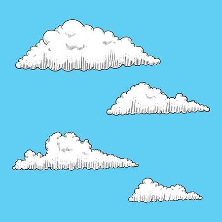 monochromic: Cloud engraving vector illustration. Scratch board style imitation. Hand drawn image. Illustration