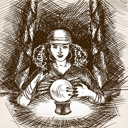 scratchboard: Medium woman with crystal magic ball sketch style vector illustration. Old engraving imitation. Illustration