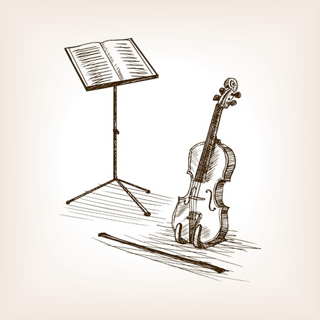 rough draft: Violin bow and music stand sketch style vector illustration. Old engraving imitation.