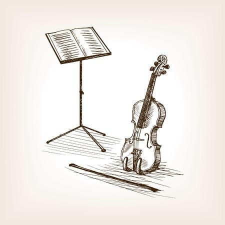 Viool strijkstok en muziek staan schets stijl vectorillustratie. Oude gravure-imitatie.