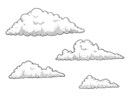 scratch board: Cloud engraving vector illustration. Scratch board style imitation. Hand drawn image. Illustration