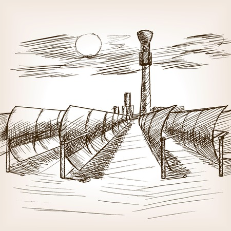 old mirror: Solar mirror power plant sketch style vector illustration. Old hand drawn engraving imitation.