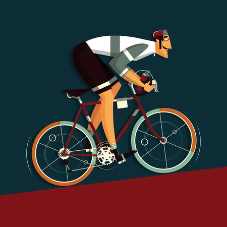 strive: Cyclist athlete character cartoon vector illustration. Flat style colorful image