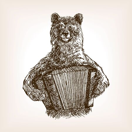Bear with accordion sketch style vector illustration. Old hand drawn engraving imitation. Illustration