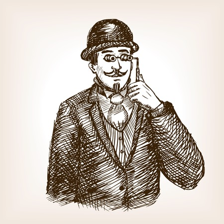 scratchboard: Vintage gentleman with opera glasses sketch style vector illustration. Old engraving imitation.