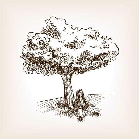 Medieval scientist under the apple tree sketch style vector illustration. Old hand drawn engraving imitation.